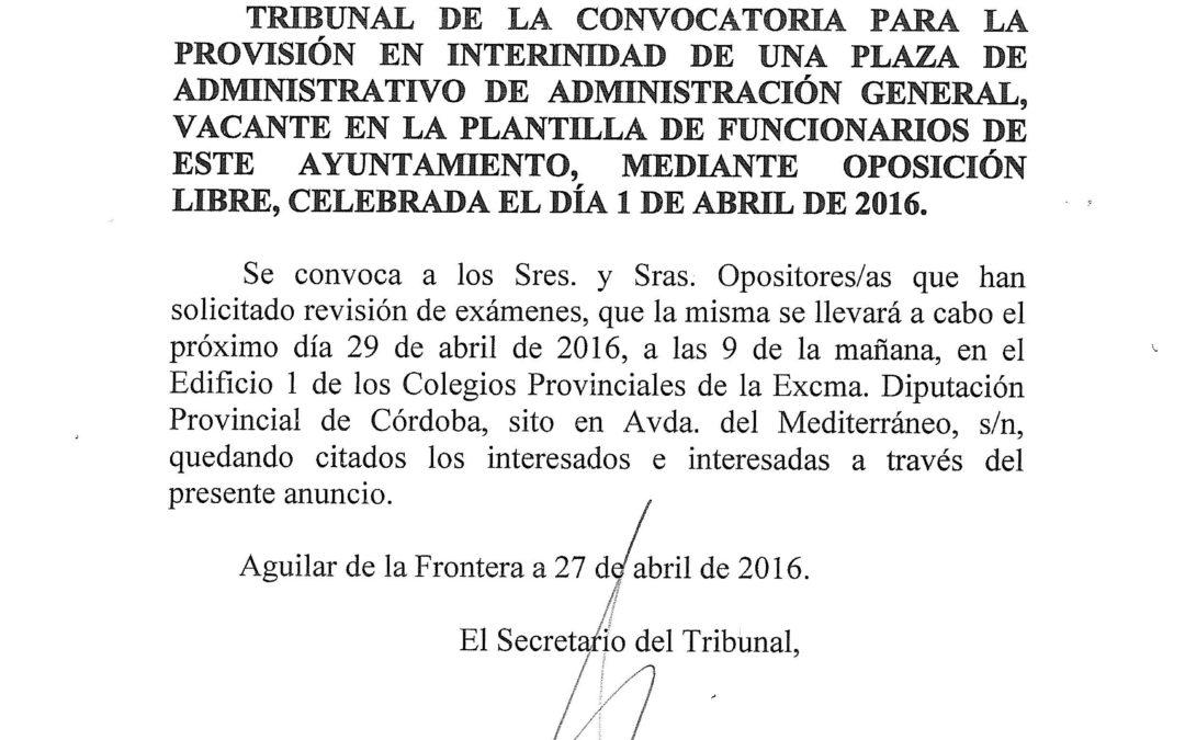 ANUNCIO REVISAR EXAMENES OPOSICION ADMINISTRATIVO FUNCIONARIO ITERINO.