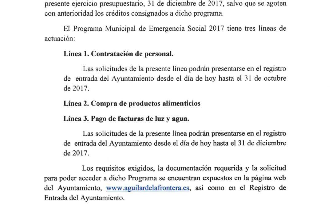 PUBLICADAS LAS BASES REGULADORAS DEL PLAN DE EMERGENCIA SOCIAL 2017. 1