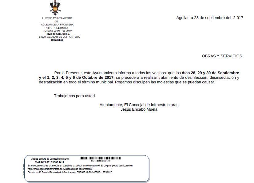 NOTA INFORMATIVA SOBRE LOS TRABAJOS DE DESINFECCIÓN, DESINSECTACIÓN Y DESRATIZACIÓN DEL MUNICIPIO. 1