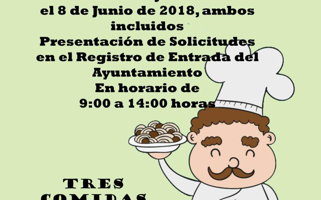 ABIERTO EL PLAZO DE PRESENTACIÓN DE SOLICITUDES PARA EL COMEDOR SOCIAL MUNICIPAL (VERANO Y NAVIDAD 2018) 1