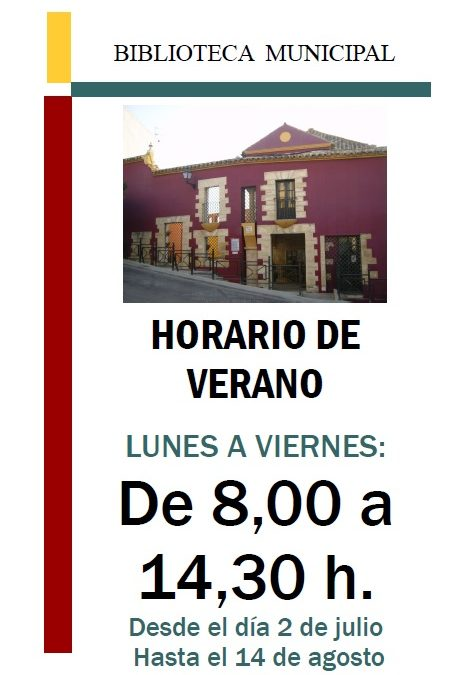 HORARIO DE VERANO DE LA BIBLIOTECA MUNICIPAL. 1