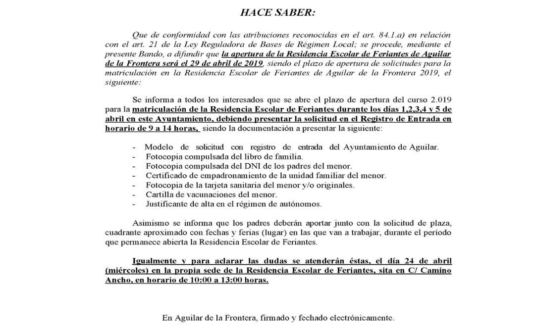 El próximo día 1 de Abril se abre el plazo de matriculación de la Residencia Escolar de Feriantes de Aguilar para el año 2019. 1