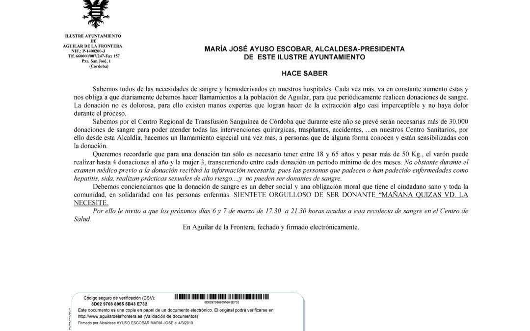 DONACIÓN DE SANGRE LOS DÍAS 6 Y 7 DE MARZO EN EL CENTRO DE SALUD. 1