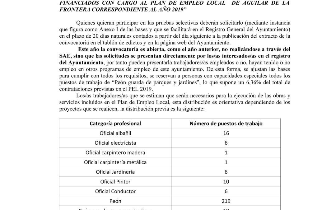 PUBLICADAS LAS BASES DEL PLAN DE EMPLEO LOCAL 2019. 1