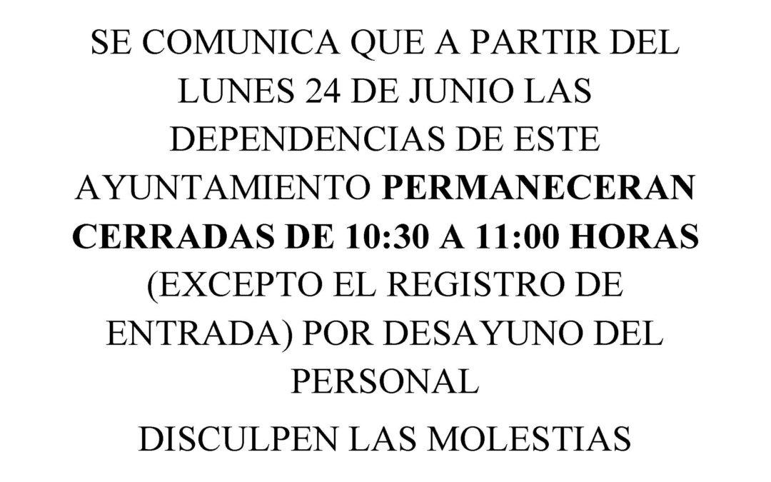 HORARIO DE DESAYUNO DEL PERSONAL DEL AYUNTAMIENTO. 1