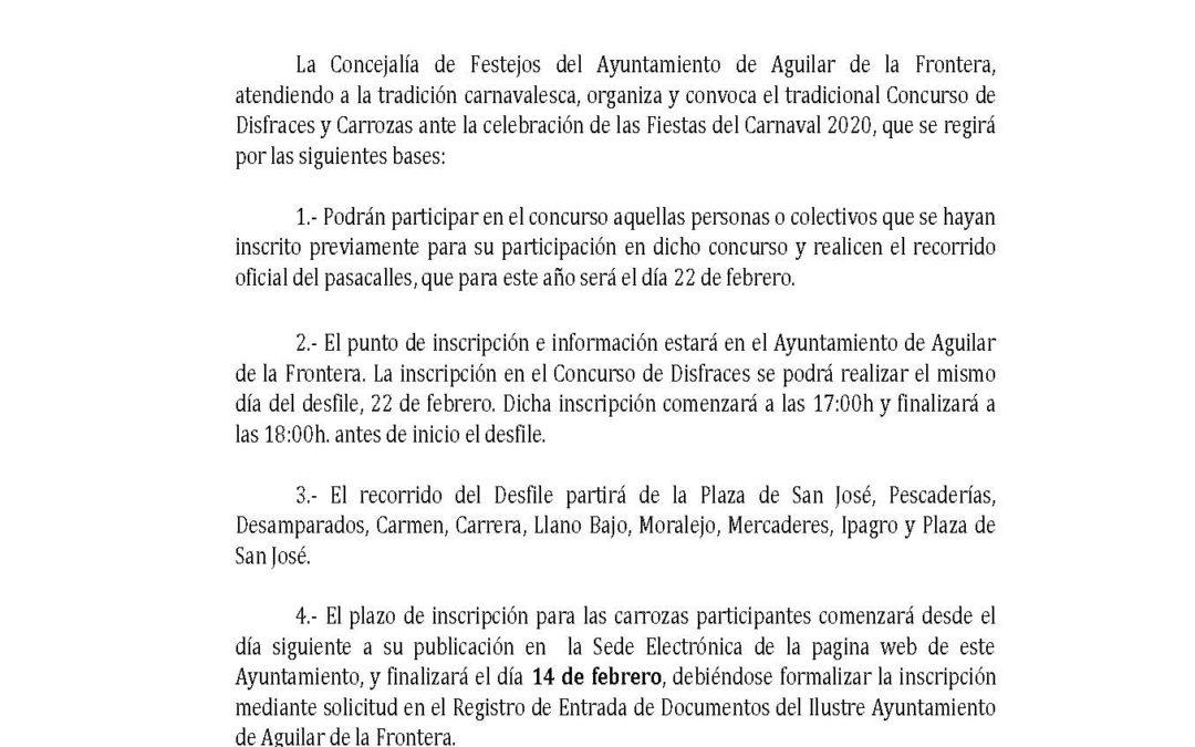 PUBLICADAS LAS BASES DEL CONCURSO DE DISFRACES Y CARROZAS DEL CARNAVAL 2020