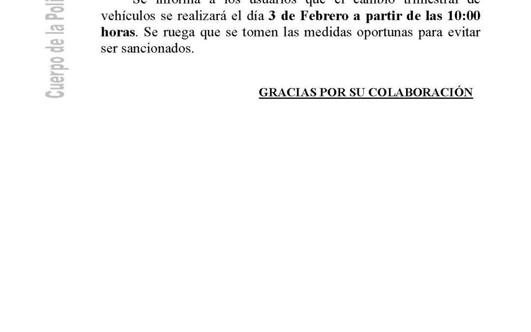 POLICÍA LOCAL INFORMA: CAMBIO TRIMESTRAL DE VEHÍCULOS.