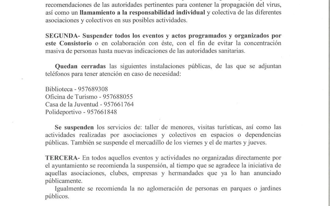 BANDO ALCALDÍA | MEDIDAS ADOPTADAS POR EL AYUNTAMIENTO ANTE LA EVOLUCIÓN DEL CORONAVIRUS.