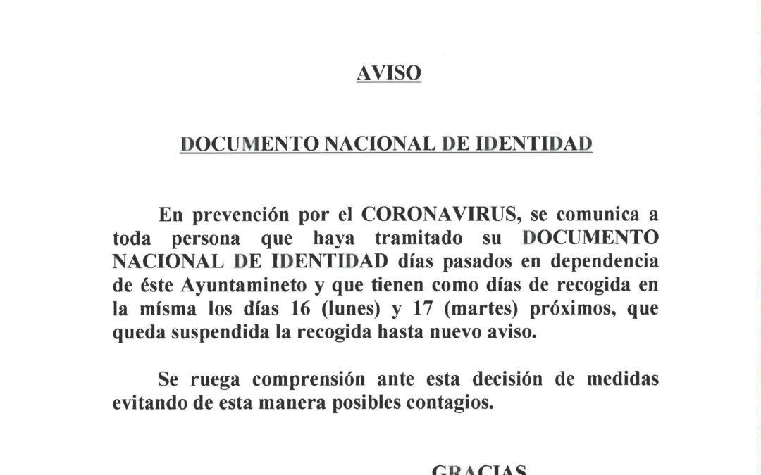 AVISO DE ALCALDÍA. TRAMITACIÓN DEL D.N.I.