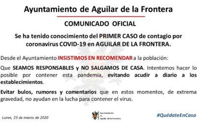 COMUNICADO OFICIAL: PRIMER CASO DE CONTAGIO POR CORONAVIRUS COVID-19 EN AGUILAR DE LA FRONTERA.