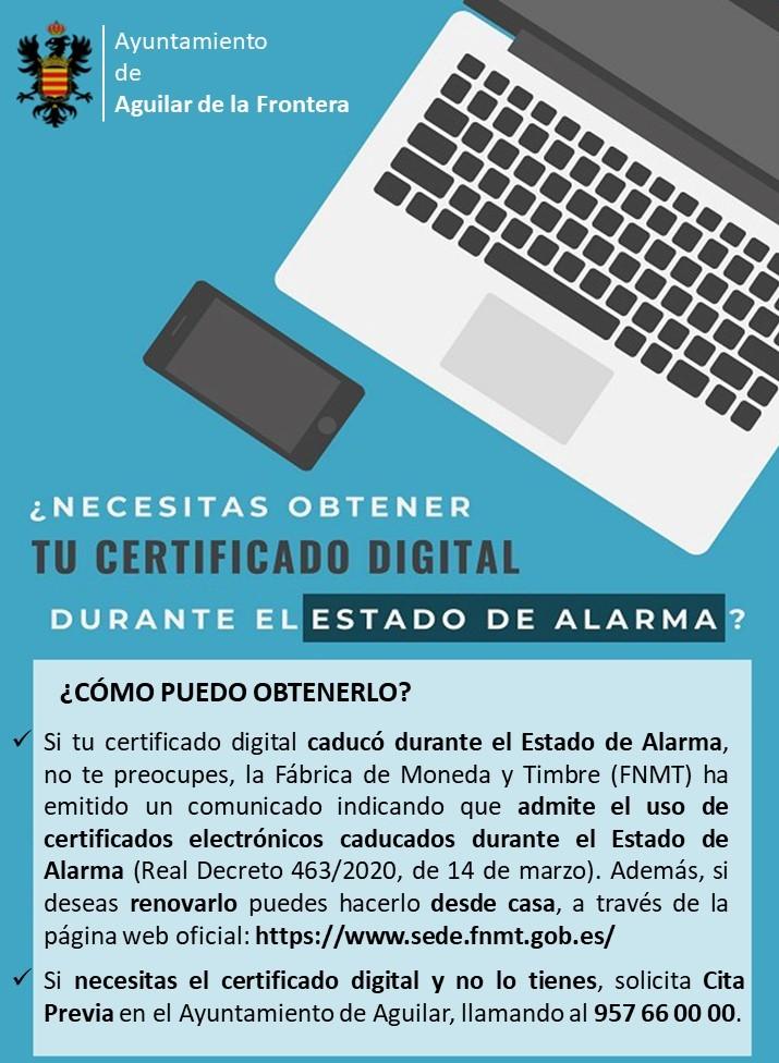 ¿Necesitas obtener tu certificado digital durante el estado de alarma? 1