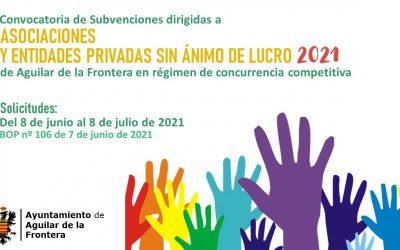 Convocatoria de Subvenciones a Asociaciones y Entidades Privadas sin Ánimo de lucro en Régimen de Concurrencia Competitiva 2021